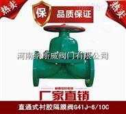 郑州纳斯威G41J直通式衬胶隔膜阀厂家现货